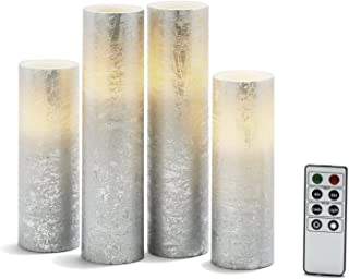 """Silver Flameless Pillar Candles - Tall Set of 4, Distressed Textured Wax Finish, White LED Lights, 2"""" Diameter, Batteries..."""