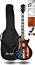 Full Size Single Cut Electric Guitar for Adults - with Special US Flag Sticker on Curved Top - Grover Machine Heads Installed - Super Light String and Extra Set as Spare Parts