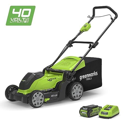 Greenworks Tondeuse à gazon sans fil sur batterie 41cm 40V Lithium-ion avec batterie 2Ah et chargeur - 2504707UA