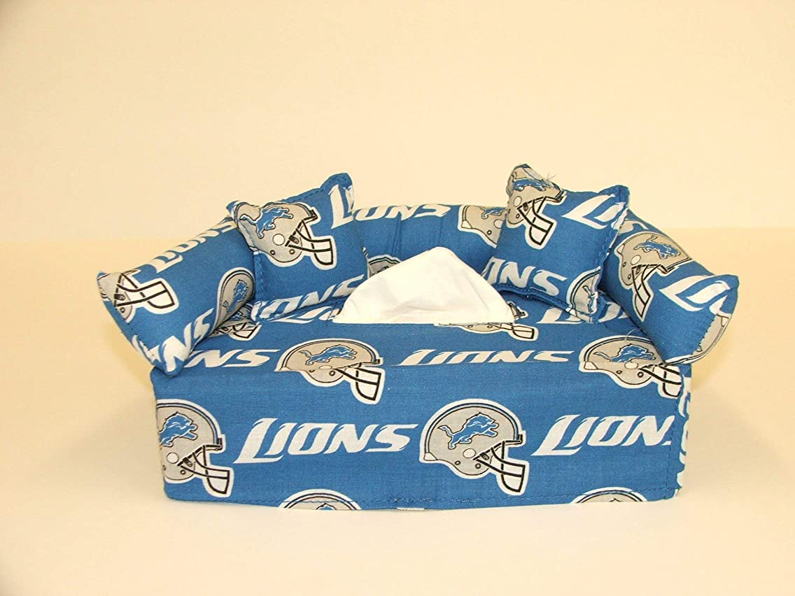 Detroit Lions NFL Licensed fabric tissue box cover. Includes Tissue