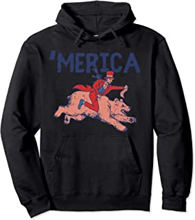 Merica Funny US 4th Of July Lincoln Riding Bear Patriot Gift Pullover Hoodie