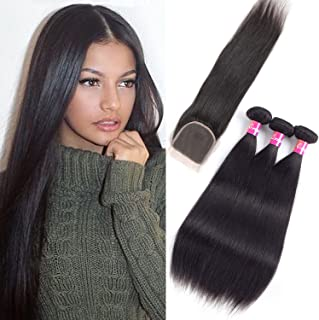 Originea Malaysian Hair with Closure 9A Remy Hair with Closure 121416+10 Straight Hair 3 Bundles with Free Part Lace Closure Natural Color(12