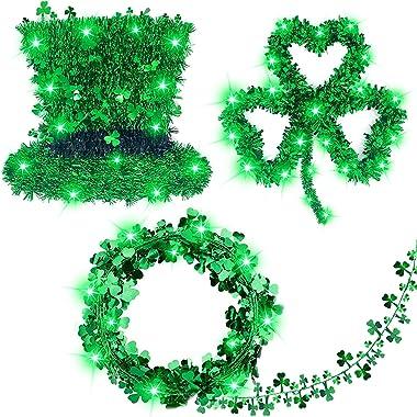 St.Patrick's Day Decorations Prelit 3Pack Tinsel Shamrocks St.Patrick's Day Wreath St.Patricks String Lights 20 Led Battery O