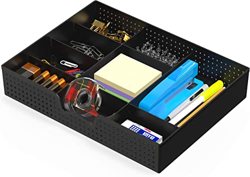 discount Simple Houseware Drawer Organizer outlet online sale Tray wholesale with 9 Adjustable Compartments, Black online sale
