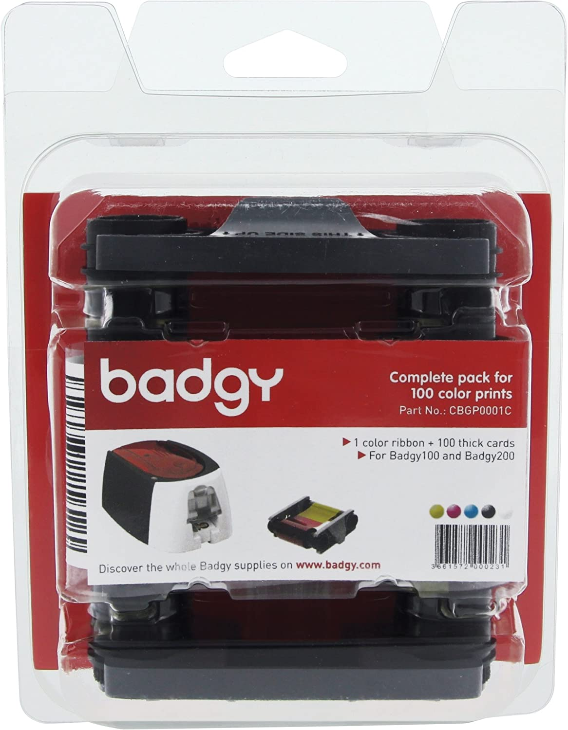 Evolis Badgy100 & 200 Consumable kit - Compatible with Badgy100 & 200 printers only - CBGP0001C