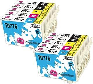 INK INSPIRATION® Reemplazo para Epson T0711-T0714 (T0715) 10 Cartuchos de Tinta Compatible con Epson Stylus S20 S21 SX100 SX115 SX200 SX218 SX415 SX515W SX600FW SX610FW BX300F BX610FW D92 DX7400