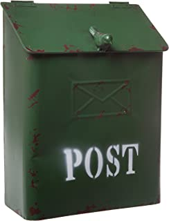 Country Cottage Green Metal Bird Post Mailbox - Rustic Style Décor, Small