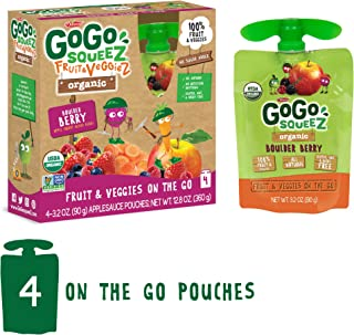 GoGo squeeZ Organic Fruit & VeggieZ on the Go, Apple Mixed Berry Carrot, 3.2 Ounce (4 Pouches), Gluten Free, Vegan Friendly, Healthy Snacks, Unsweetened, Recloseable, BPA Free Pouches