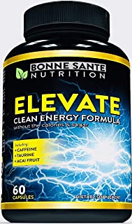 Elevate- Natural Clean Energy- High Caffeine Pills with Taurine- B Vitamins and More. Supports Endurance- Energy- and Focus, Made for Men and Women. Non-GMO Natural Energy Supplement 60 Capsules