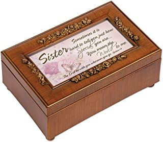 Cottage Garden Sister You Mean The World to Me Woodgrain Embossed Jewelry Music Box Plays Amazing Grace
