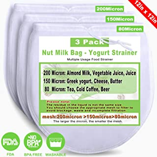 Nut Milk Bag Reusable 3 Different Micron Cheesecloth Bags for Straining Almond/Cashew Milk Greek Yogurt Strainer Nut Bag for Juice Herbs Tea Cold Brew Coffee Beer Wine Nylon Mesh Cheese Cloth
