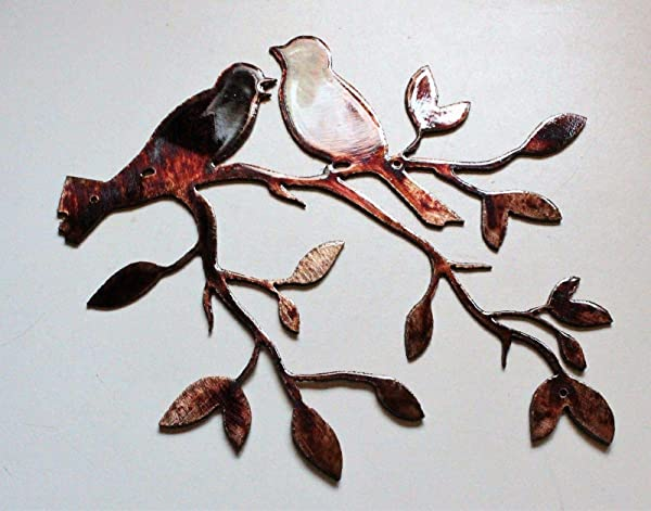 Love Bird Olive Leaf Branch 7 1 2 X 7