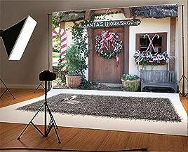Laeacco 7x5FT Vinyl Backdrop Photography Background Santa's Workshop Christmas Wreath Green Vine Leaves Plant Pots Front Door Candy Cane Childhood Memory Children Adult Photo Backdrop Studio Props