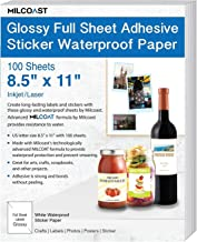"""Milcoast Glossy Full Sheet 8.5"""" x 11"""" Adhesive Waterproof Photo Craft Paper - Works with Inkjet/Laser Printers - for Stickers, Labels, Scrapbooks, Bottle Labels, Arts and Crafts (100 Sheets)"""