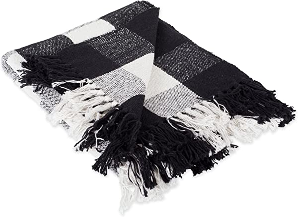 DII 100 Cotton Buffalo Check Throw For Indoor Outdoor Use Camping Bbq S Beaches Everyday Blanket 50 X 60 Black And White