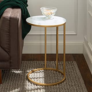 WE Furniture Modern Round Side End Accent Table Living Room, 16 Inch, White Marble, Gold
