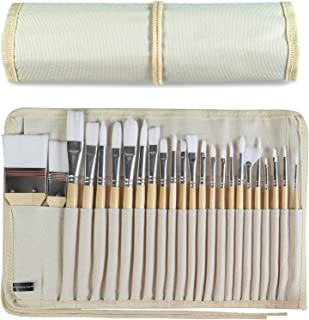 24 Pieces Artist Paint Brushes Set, Multifunctional Wooden Handles Brushes with Canvas Brush Case, Professional for Both A...
