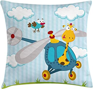 Nursery Throw Pillow Cushion Cover, Funny Giraffe and Bird on Helicopter Fluffy Clouds Grass Adventure Journey, Decorative Square Accent Pillow Case, 18 X 18 Inches, Blue Yellow Green