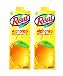 Real Fruit Juice, Alphonso Mango, 1L (Pack of 2)