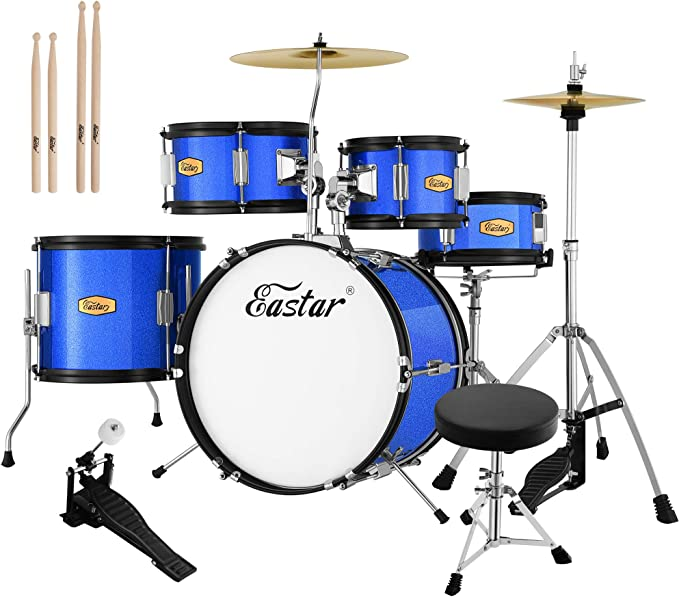 Metallic Blue (EDS-350Bu) Eastar 16 inch 5-Piece Junior Drum Set