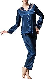 Afibi Women's Classic Satin Pajama Set Sleepwear Long Sleeve Loungewear