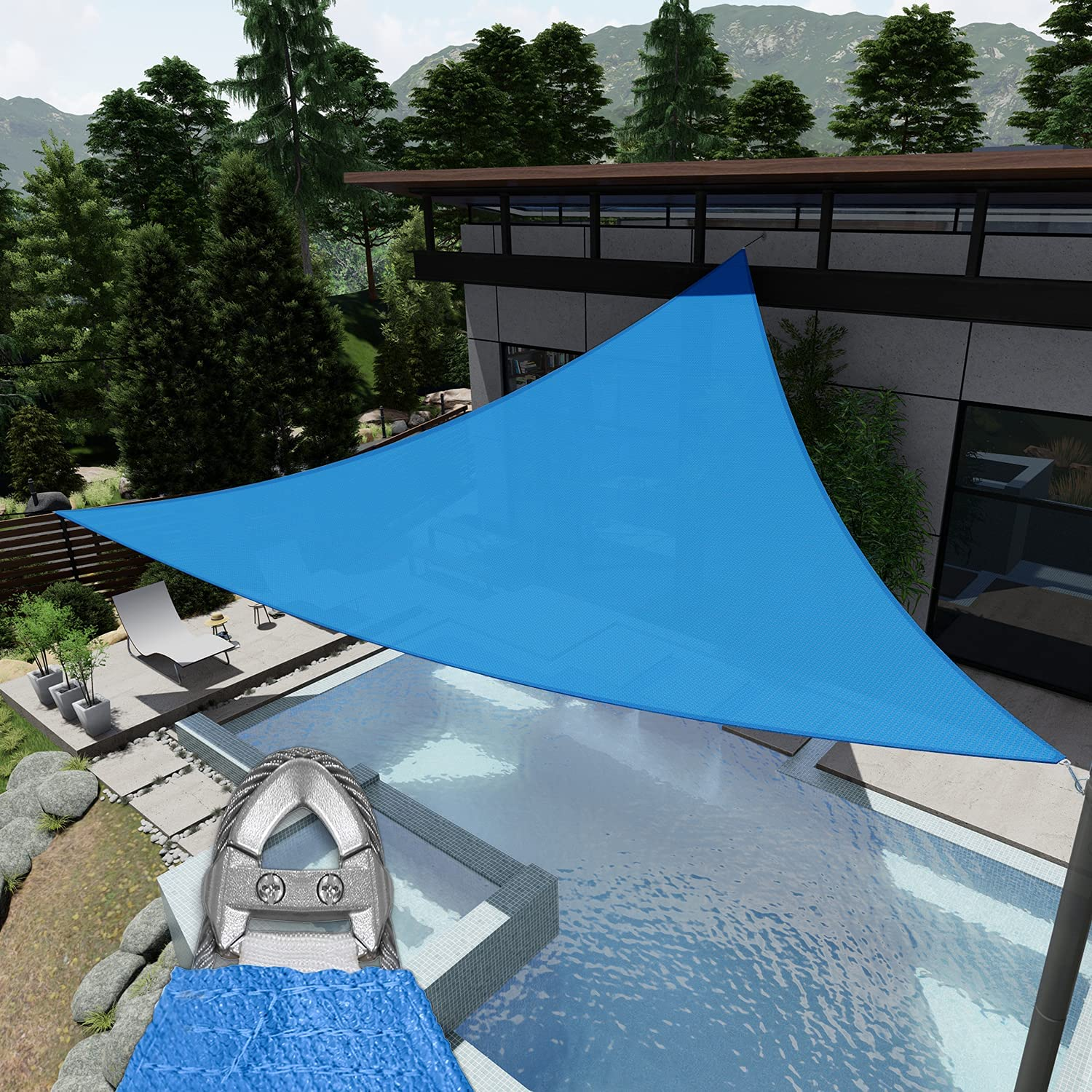 EK Sunrise Reinforcement Large Sun Sail NEW before selling ☆ Blue x 20' Shade Special Campaign