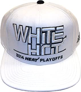 adidas Miami Heat White Hot 2014 Heat Playoffs Hat - OSFA - VE24Z