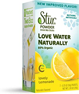 Stur Drinks - Lovely Lemonade, Natural Powder Drink Mix, 42 Sticks, Makes 84 Servings, Made with Organic Cane Sugar, Stevia, and Natural Flavors, Contains High Antioxidant Vitamin C