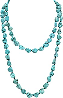 POTESSA Turquoise Beads Endless Necklace Long Knotted Stone Multi-Strand Layer Necklaces Handmade Jewelry