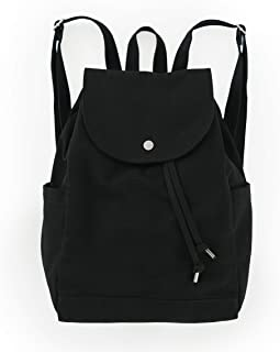 BAGGU Canvas Backpack, Durable and Stylish Simple Canvas Satchel for Daily Essentials, Black