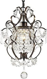 Garwarm Modern Crystals Chandeliers, Small Chandelier Pendant Lighting,Ceiling Lights Fixtures for Living Room Bedroom Restaurant Porch Dining Room,Bronze,1-Light