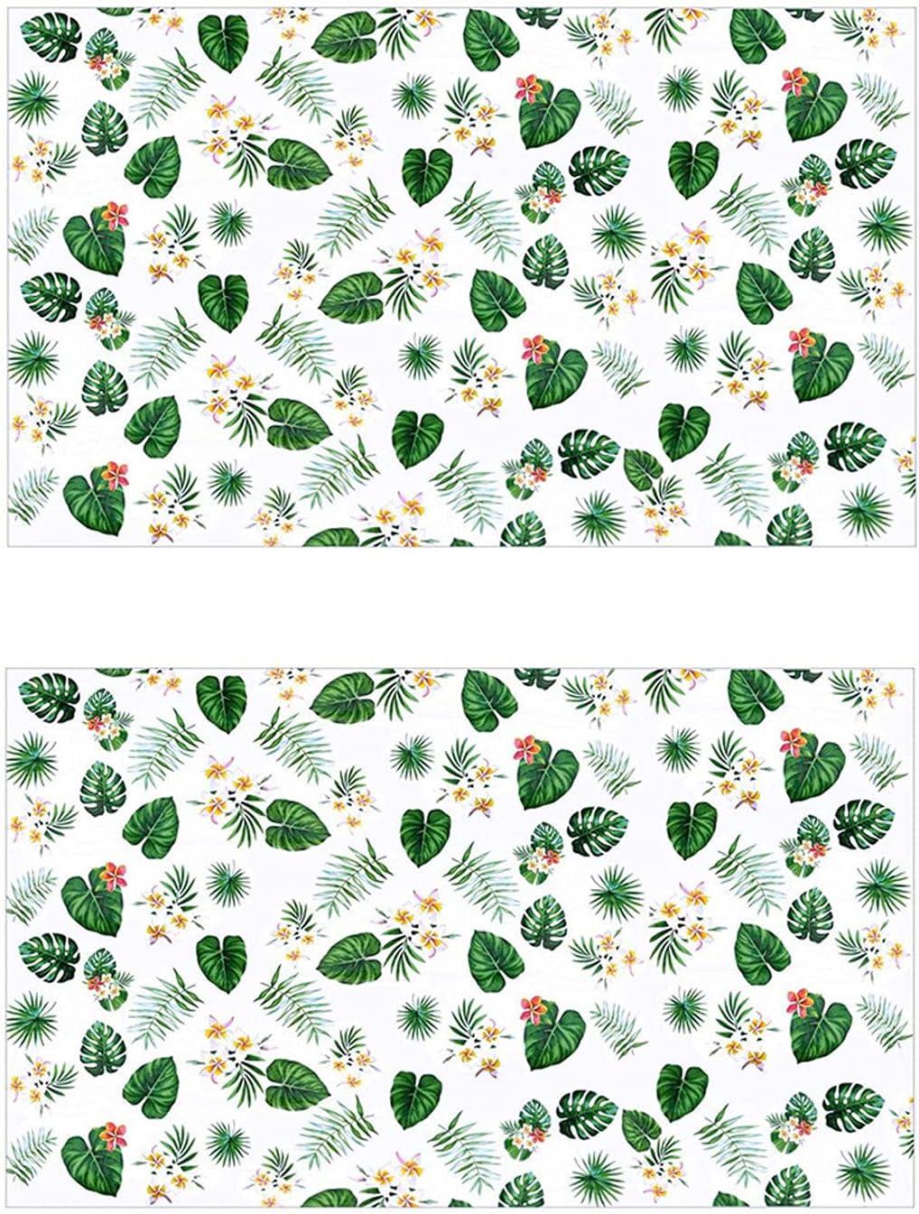 2 Piezas De Mantel Impermeable Rectangular Mantel Hawaiano Mantel De Fiesta De Hojas De Palmera Desechable El Plastico Cubiertas De Mesa Rectangulares para Piscina, Playa, NiñOs Fiesta De CumpleañOs