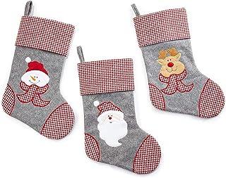 HEITMANN DECO Navidad - Set de Tres Calcetines Decorativos en Fieltro Gris, Rojo y Blanco para Rellenar y Colgar - Botas de Papá Noel - Decoración navideña - muñeco de Nieve, Papá Noel, Renos