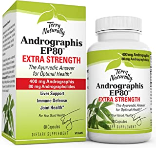 Terry Naturally Andrographis EP80 Extra Strength - 60 Vegan Capsules - Immune Defense Support Supplement, Promotes Healthy...