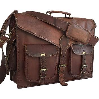Laptop Messenger Bag 17.5 Inch, Vintage Canvas Leather Shoulder Bag, Durable Computer Bags Business Briefcases Satchel Bag Work Bags for Men and Women, Coffee