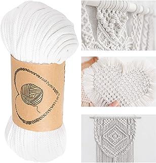 hilo macrame cuerda algodon - hilos para macrame 5 mm (blanco, 5 mm x 50 m)