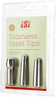 iSi Best Selling Professional Quality Stainless Steel Replacement Decorator Tips - Set of Three, Tulip, Star and Straight Great for a Variety of Applications