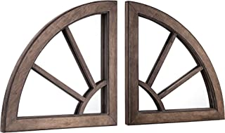 """American Art Decor Rustic Wood Cathedral Arched Style Accent Wall Vanity Mirrors Set of 2 - (24.5"""" H x 24.5"""" L x 1.5"""" D)"""