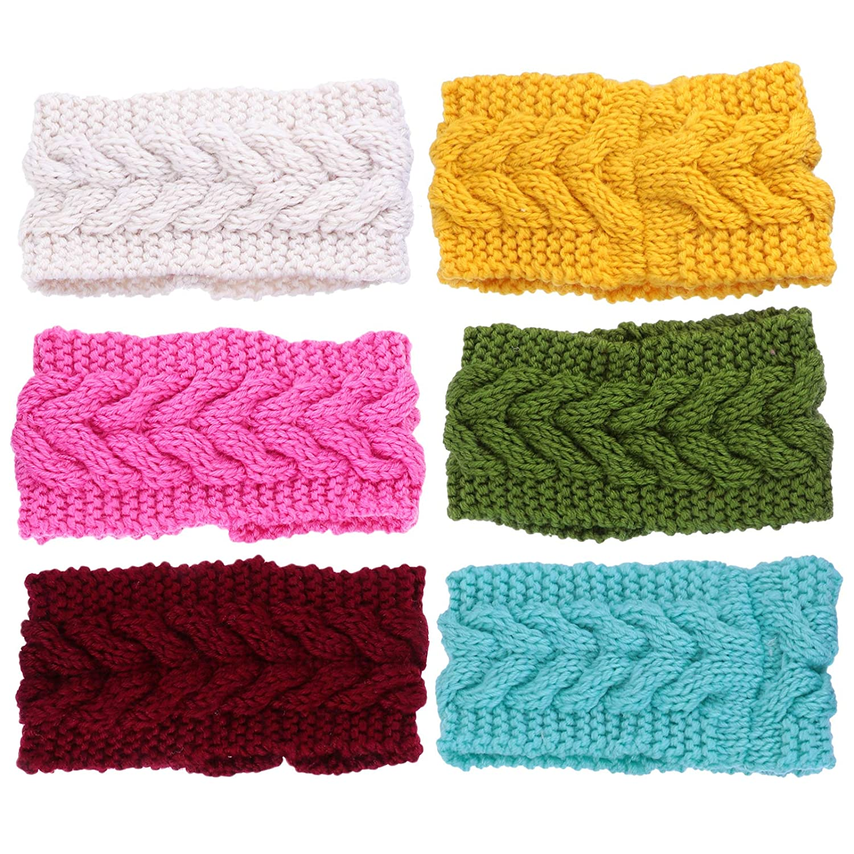 SOLUSTRE Knitted Headbands Winter Ear Warmers Crocheted Head Wraps Elastic Hair Band- 6pcs