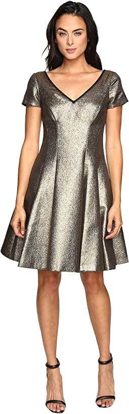 Fit and Flare Metallic Dress with Sleeves