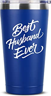 Best Husband Ever   16 oz Blue Insulated Stainless Steel Tumbler w/Lid Mug   Birthday Valentines Fathers Day Christmas Gift Ideas from Wife   Funny Present Idea for Groom Him   Unique Gifts Presents
