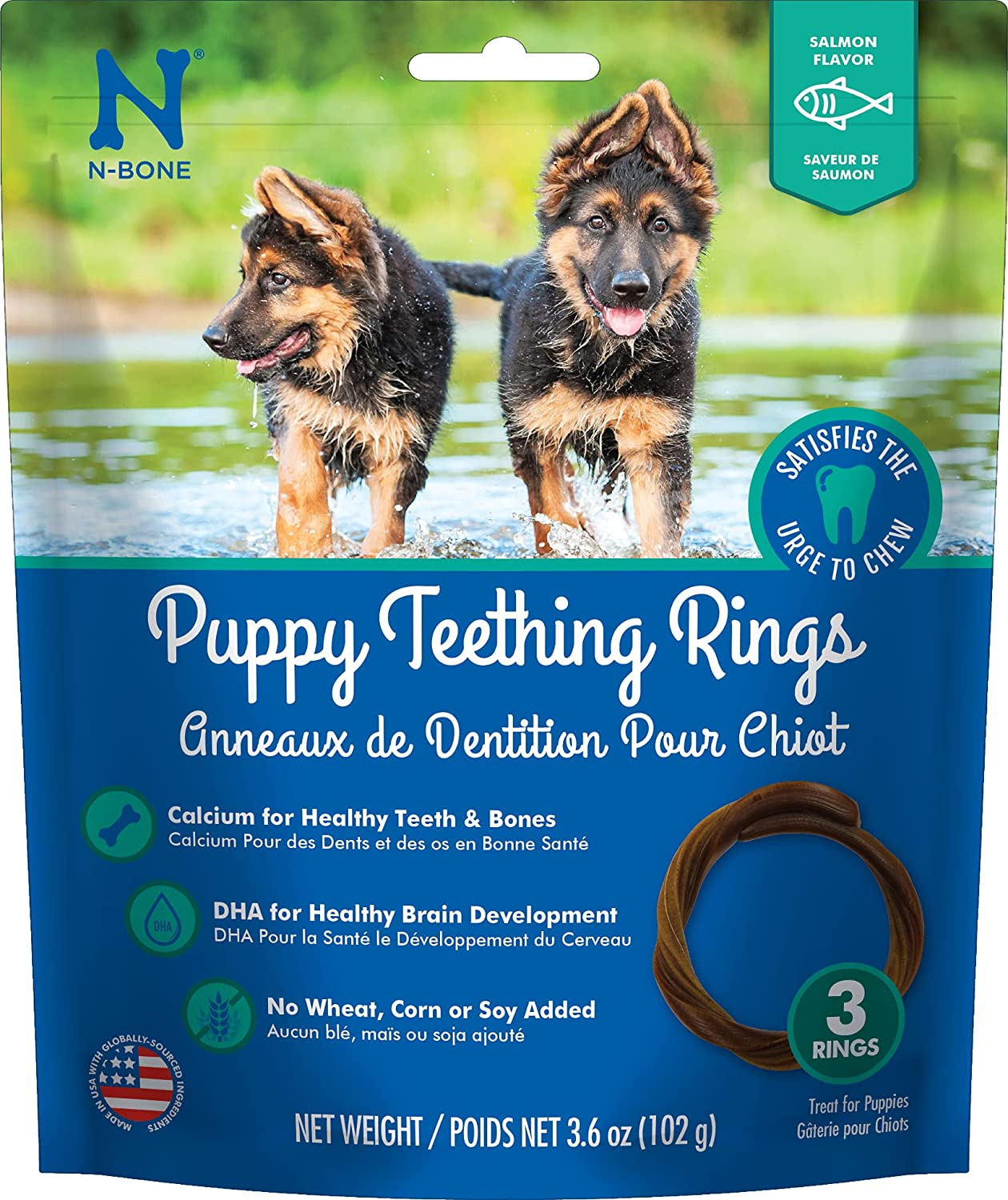 N-Bone Puppy Translated Teething Rings Salmon Natural 3 Count New Shipping Free 912566