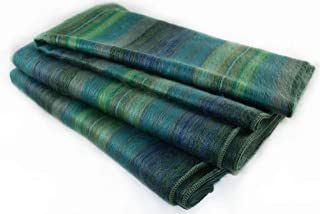 Qisu Ecuadorian Alpaca Wool Blanket. Large, Beautiful, Warm Throws | Hand-Woven Craftsmanship | Soft, Hypoallergenic and Breathable | Non-Itchy or Scratchy Fabric (Green Variegated)