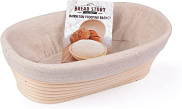 (25x15cm) Oval Proofing Basket Set by Bread Story– Oval Banneton/Brotform Handmade Unbleached Natural Cane Bread Baking Kit with Cloth Liner + Free Bread Baking Ebook, Course Discount, Coupon