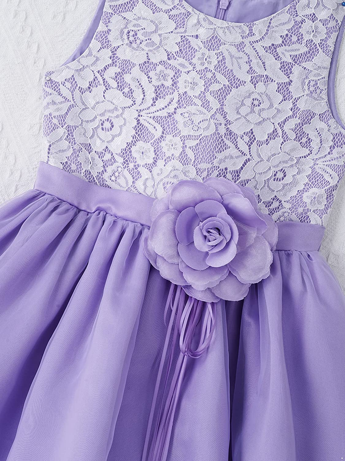 YONGHS Kids Girls Floral Lace Princess Prom Gown Sleeveless Wedding Birthday Party Tulle Flower Girl Dress