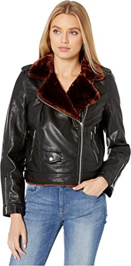 Vegan Leather Moto Jacket with Faux Fur Lining