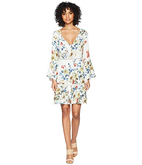 MISS ME Floral Print V-Neck Bell Sleeve Dress, Multi White