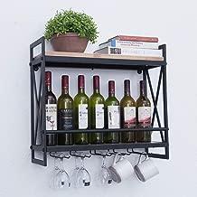 Rustic Wall Mounted Wine Racks with 5 Stem Glass Holder,23.6in Industrial Metal Hanging Wine Rack,2-Tiers Wood Shelf Floating Shelves,Home Room Living Room Kitchen Decor Display Rack