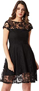 Miss Chase Women's Black Designer Cap Sleeves Pearl Detailing Lace Skater Mini Dress