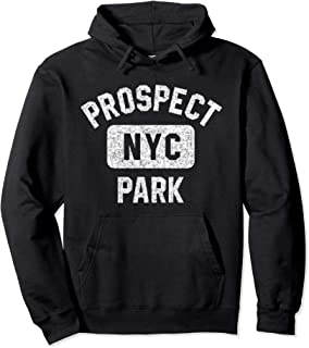 Brooklyn Prospect Park NYC Distressed White Print Pullover Hoodie